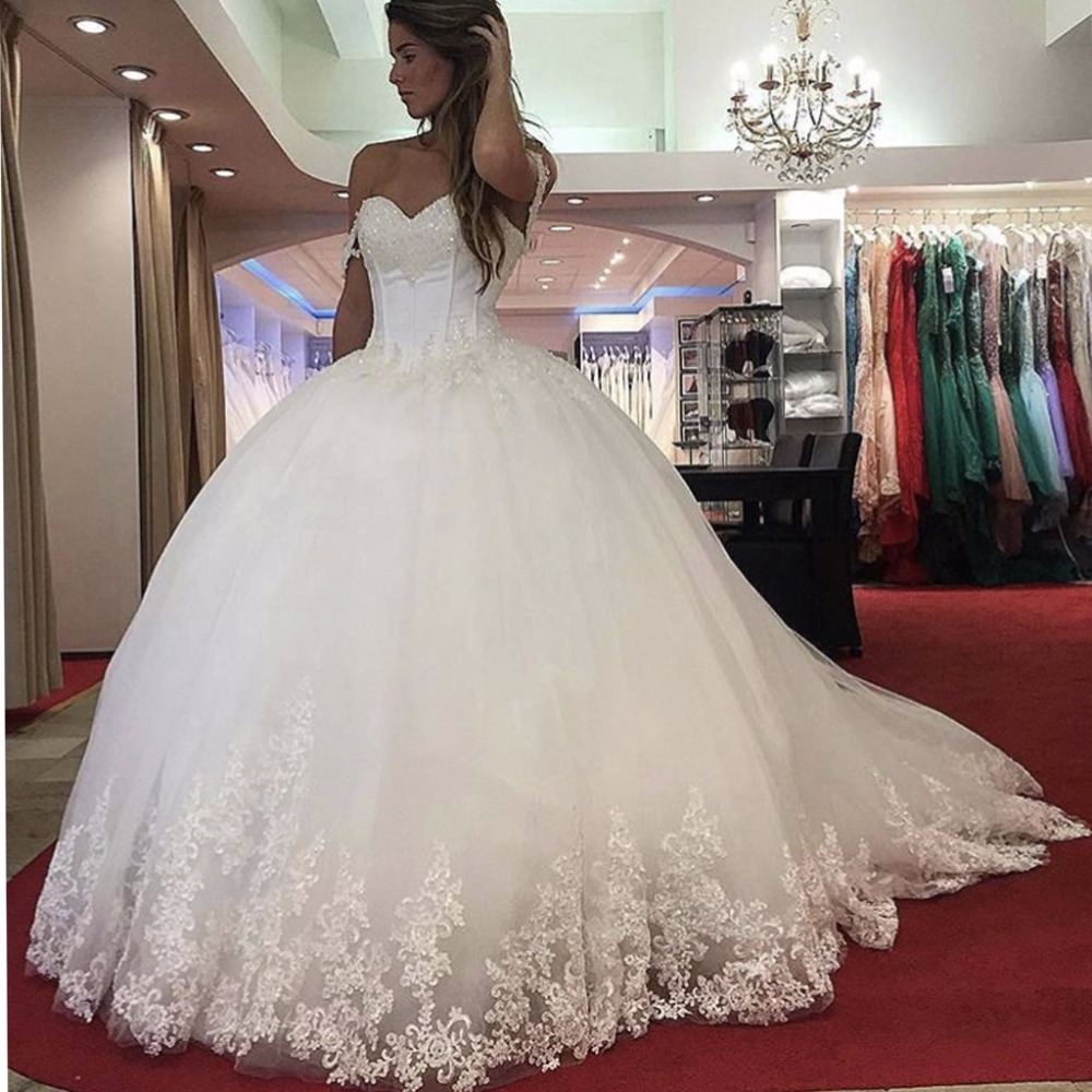 Vestido De Noiva Lace Appliques Princess Ball Gown Ivory Robe De Mariage Wedding Party Dress