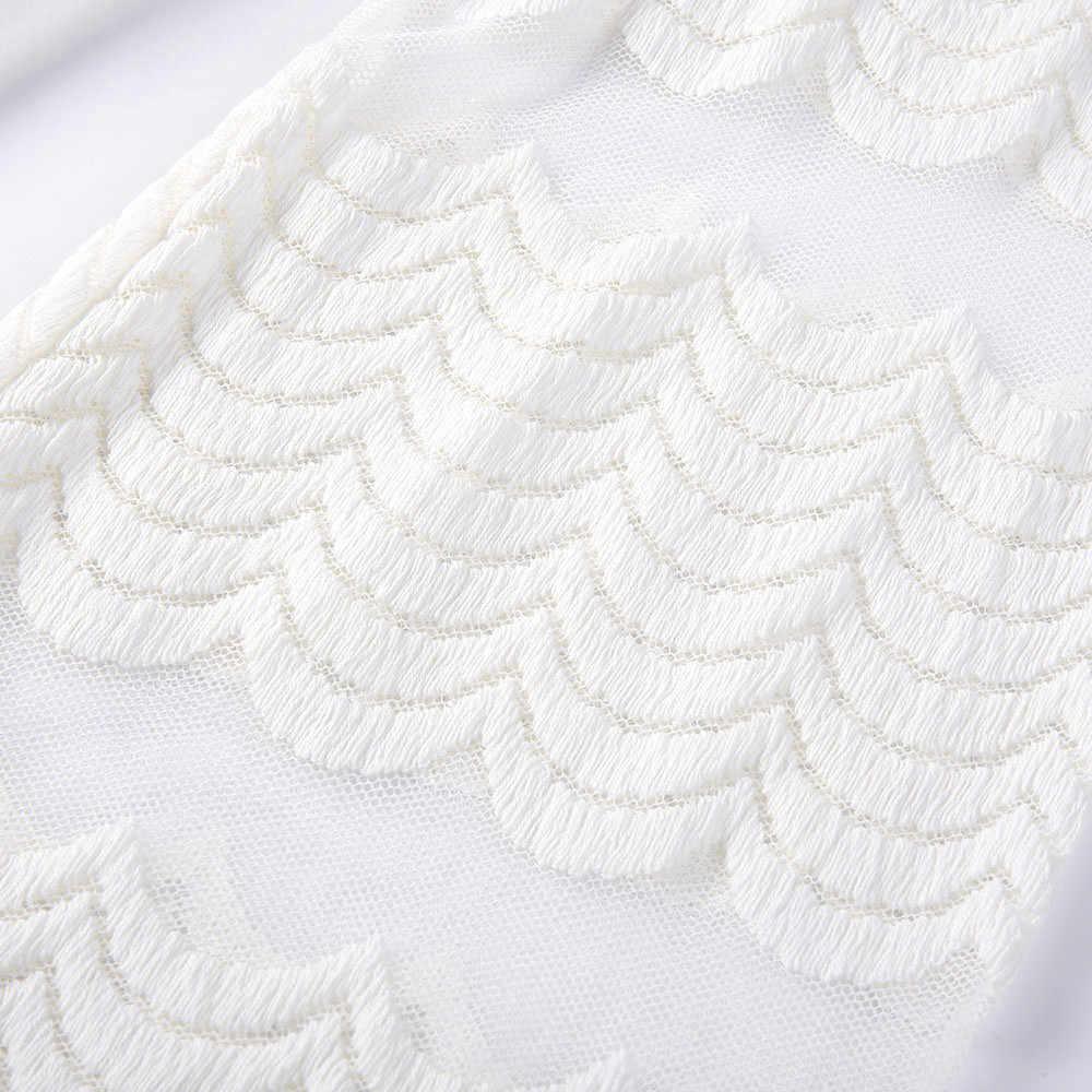 여자 가을 캐주얼 긴 중공 슬리브 화이트 드레스 쉬폰 오-넥 느슨한 짧은 미니 우아한 오피스 드레스 sukienka jurk #3s