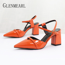Women Pumps Female High Heels Brand Shoes  Thick Buckle Strape Casual Spring Autumn Plus Size 2019