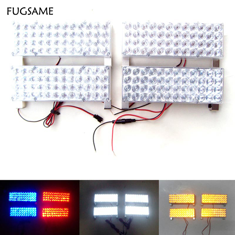 FUGSAME FREE SHIPPING 4*48LED Strobe Fire Warning Grill Light  WHITE RED 3 FLASHING MODE  Automatic 12 24 led fire tow lightbar red blue ceiling strobe free shipping