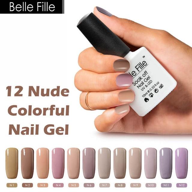 Belle Fille 10ml Coffee Khaki Nude Color Nail Polish UV Gel Lak ...