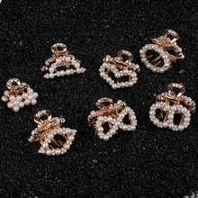 2pcs Pearl Fashion Baby Girls Small 2cm Hair Claw Cute Gold Color flower Clip Children Hairpin Styling Accessories