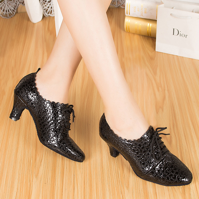 ФОТО Dance Shoes women zapatos Mujer Adult female Latin dance winter leather dancer Friendship Square teacher dance shoes heel 60 mm