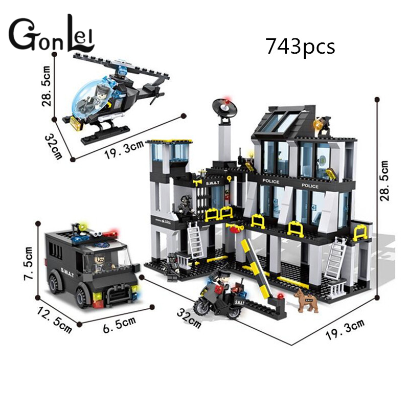GonLeI HSANHE 6512 Police station SWAT Hotel De Police doll Military Series 3D Model building blocks city Boy Toy hobbies Gift gonlei hsanhe 6512 police station swat hotel de police doll military series 3d model building blocks city boy toy hobbies gift