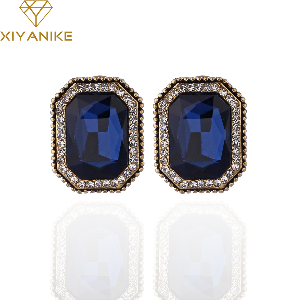 XIYANIKE 2017 Big B Hot Sale Fashion 4 Colors AAA CZ Zircon Square Earrings For Women Earrings Brinco Pendientes E1177