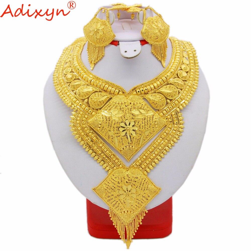 Adixyn 60cm 23 6inch Necklace Earrings Beautiful Jewelry Sets Women Gold Color Ethiopian Jewelry Luxury Wedding