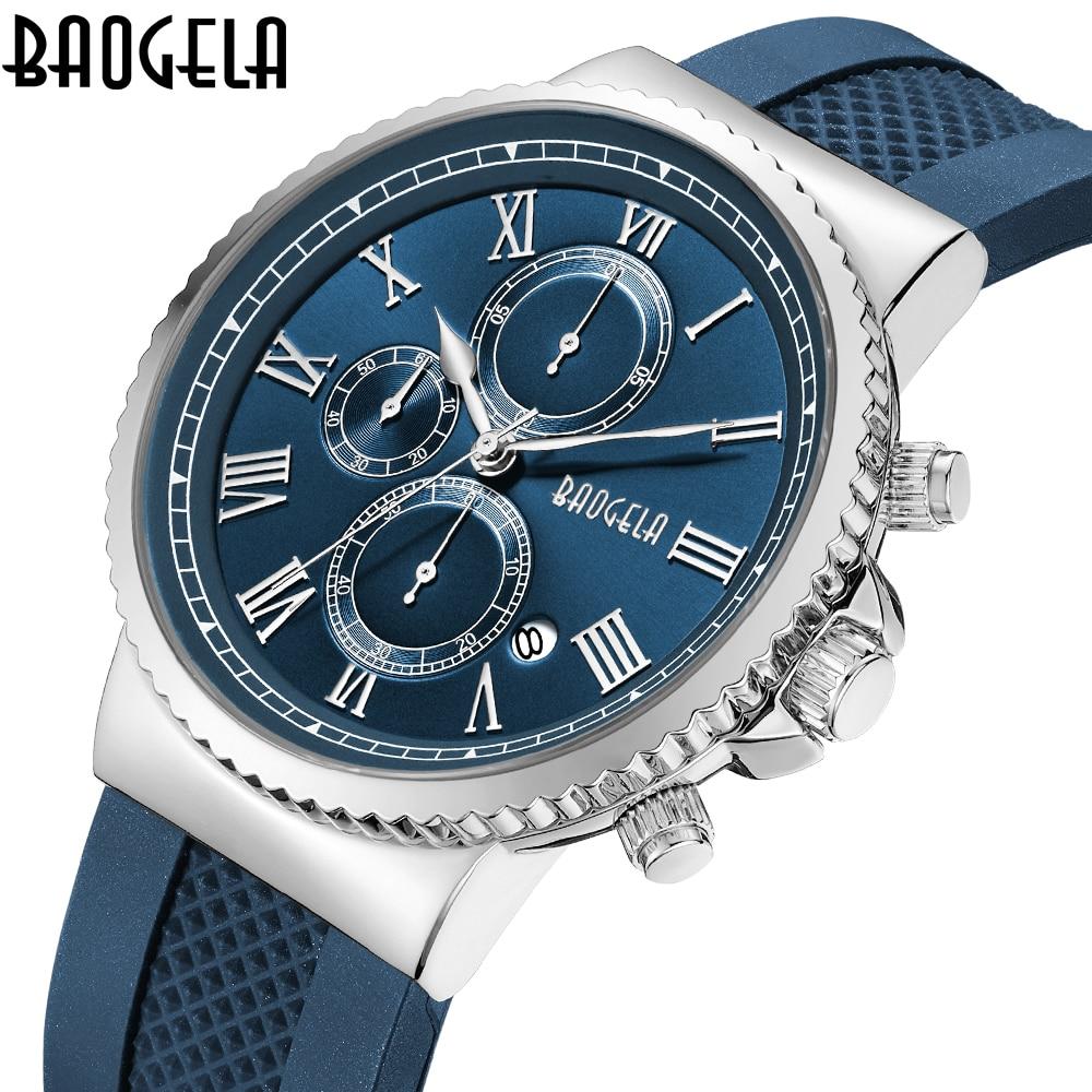 BAOGELA Chronograph blue New Watches Mens Quartz Watch silicone Band Slim Men Watch Fashion Sports military business Wrist watch men s military style fabric band analog quartz wrist watch black 1 x 377