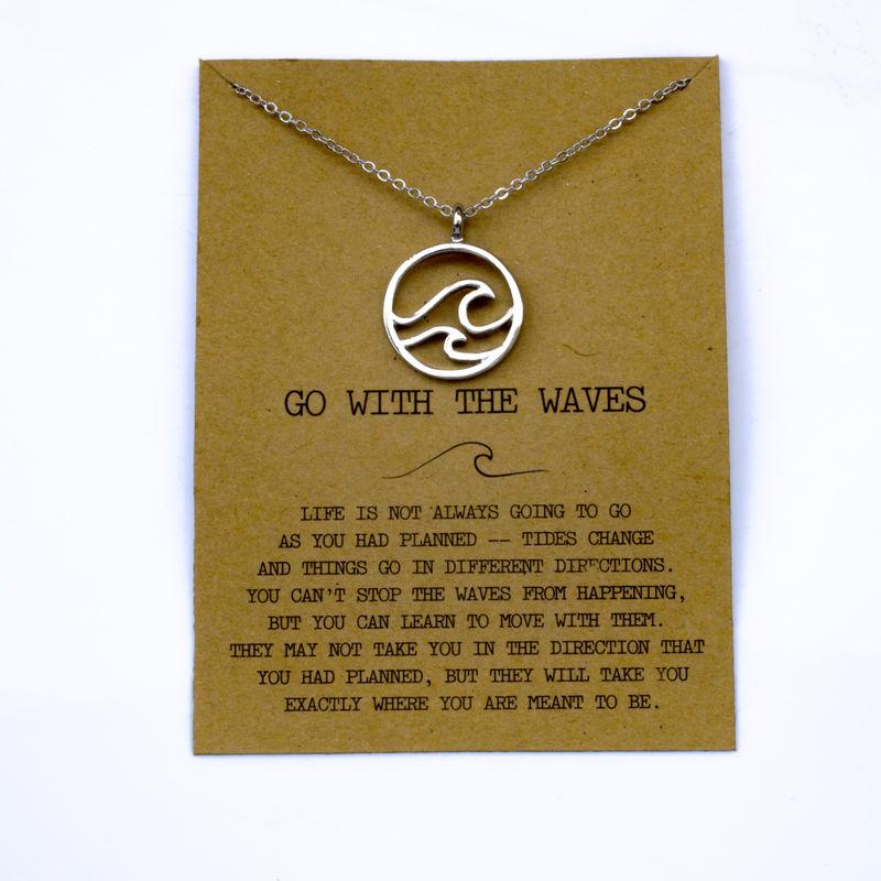"""SanLan 1 шт идут в комплекте ожерелье с подвеской """"волны"""" Океан ювелирные изделия - Окраска металла: 14"""