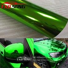 The newest High stretchable mirror green Chrome Mirror flexible Vinyl Wrap Sheet Roll Film Car Sticker Decal Sheet