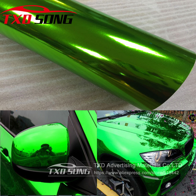 The newest High stretchable mirror green Chrome Mirror flexible Vinyl Wrap Sheet Roll Film Car Sticker Decal Sheet