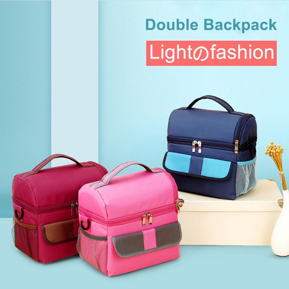1PCS New Fashion 2Layer Cooling Thermal Insulated Picnic Box Lunch Storage Shoulder Bag Container Lunchbox
