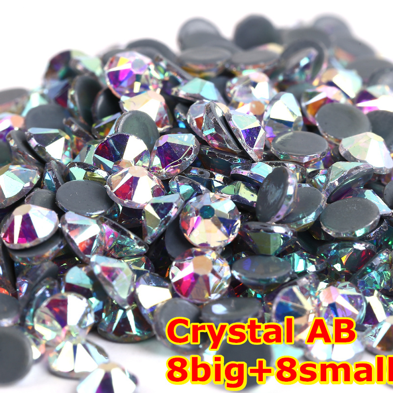 1440pcs/Lot, AAA Quality New Facted (8 big + 8 small) ss16 (3.8-4.0mm) Crystal AB Iron On Hotfix Rhinestones 1440pcs lot ss16 3 8 4 0mm high quality dmc tanzanite iron on rhinestones hot fix rhinestones