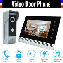 7 inch video intercom system aluminum alloy panel video door phone doorbell doorphones kit 1 LCD Monitor 1 IR Camera for home
