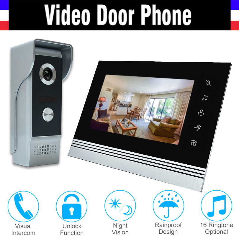 7 inch video intercom system aluminum alloy panel video door phone doorbell doorphones kit 1 LCD Monitor 1 IR Camera for home 7 inch lcd monitor video door phone doorbell intercom system ir night vision aluminium alloy camera video interphone kit