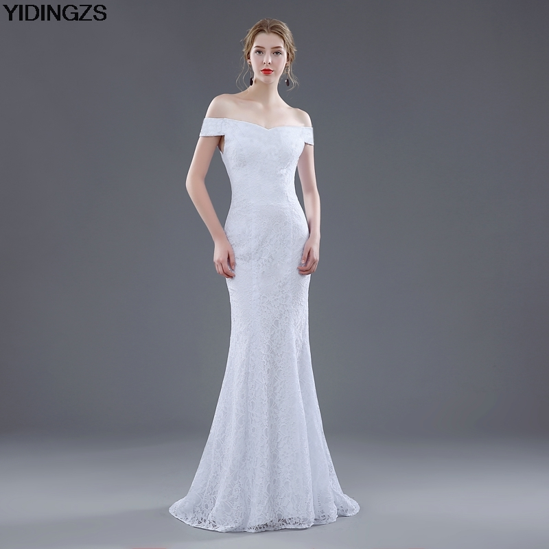 Elegant White Ivory Lace Mermaid Wedding Dress 2