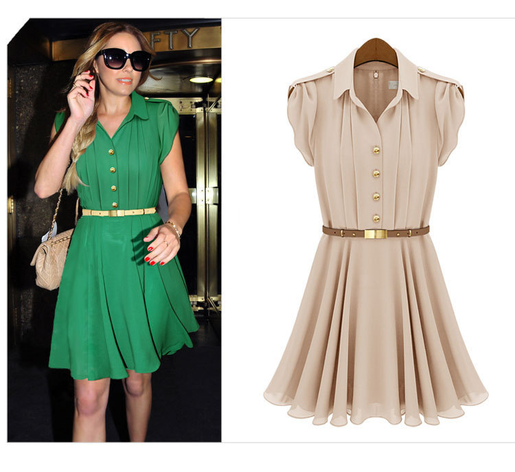 Wholesale Dresses New Fashion 2013 Women Turn Down Collar Vintage Style Chiffon Casual Dress