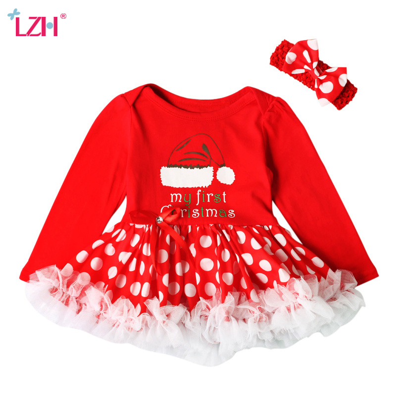 LZH Baby Girls Christmas Outfit Costume 2017 Autumn Winter Newborn Girls Clothes Set Rompers Dress+Headband 2pcs Infant Clothing pink newborn infant baby girls clothes short sleeve bodysuit striped leg warmers headband 3pcs outfit bebek clothing set 0 18m