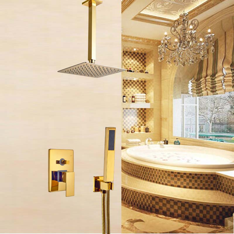 Celling Mounted 8 Rain Shower Faucet Mixer Tap with Handshower Gold Finish sognare new wall mounted bathroom bath shower faucet with handheld shower head chrome finish shower faucet set mixer tap d5205