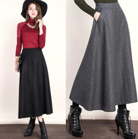 Mulheres de Outono inverno Moda All-matched Vintage A Linha de Lã Blended Longo 4XL Saia