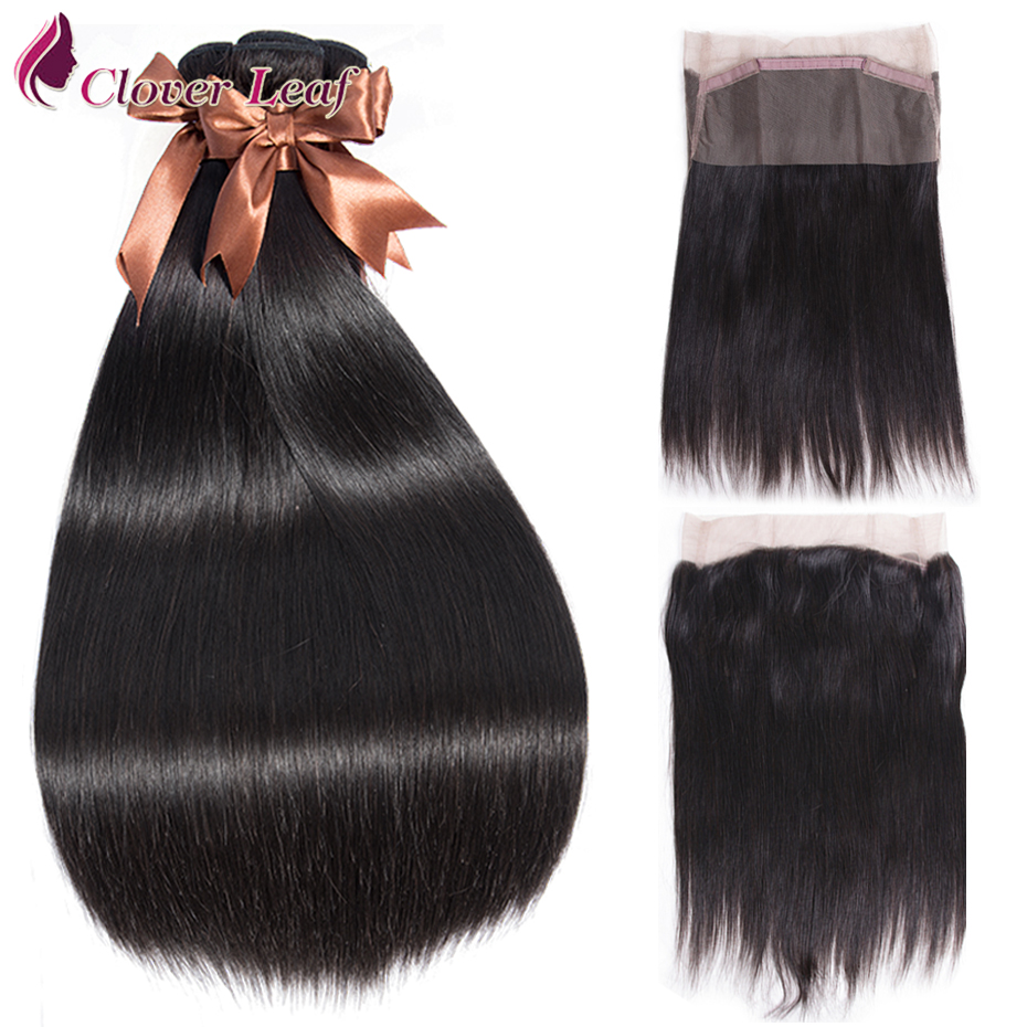 Clover Leaf Straight Human Hair 3 Bundles With 360 Lace Frontal Peruvian Remy Hair Weave Bundles With 360 Lace Frontal Natural