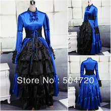 V-1068 Blau langhülse Gothic Lolita Kleid/viktorianischen kleid Cocktailkleid/halloween-kostüm US6-26 XS-6XL