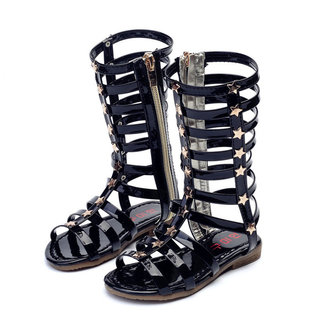 cef346110 J Ghee 2019 Summer New Fashion Girls Sandals Roman Style Gladiator Shoes  For Kids Bright Skin