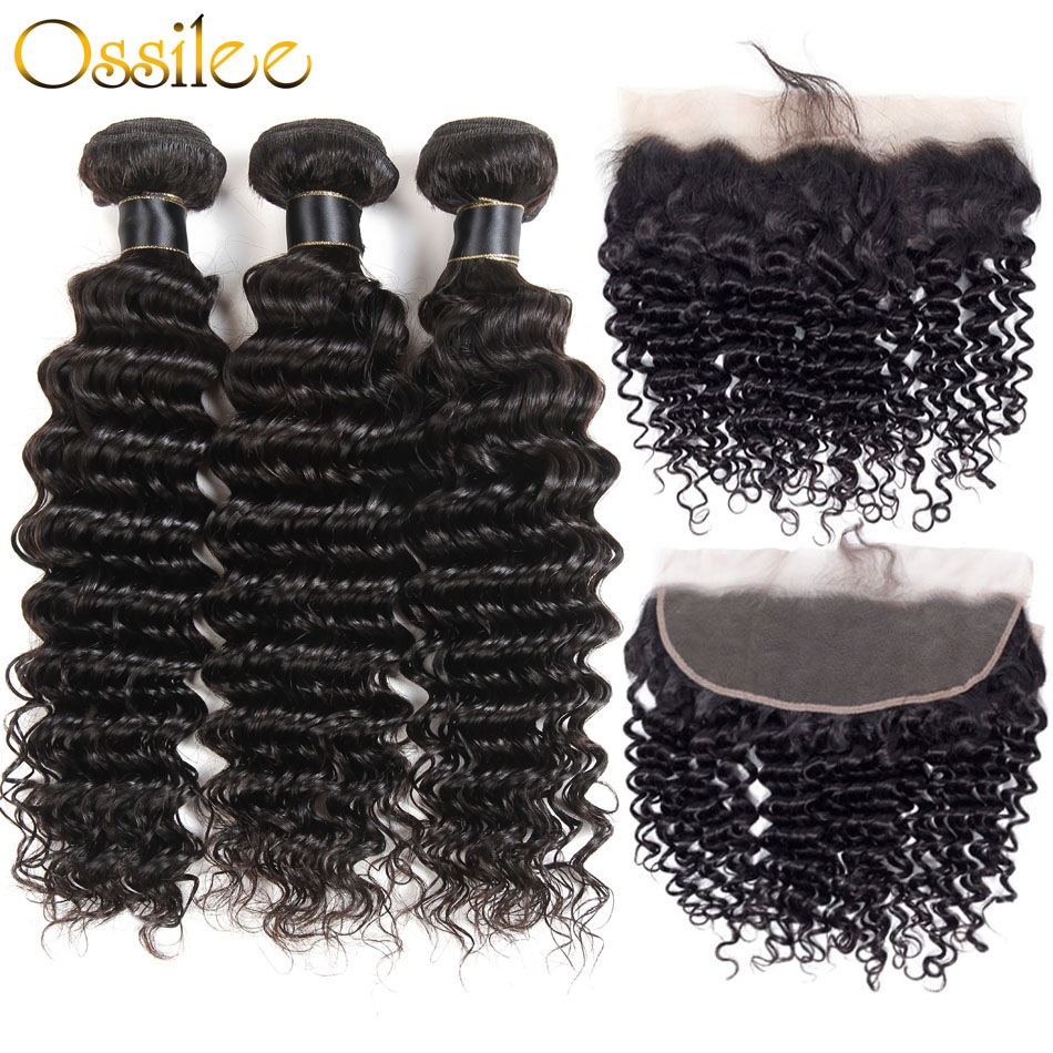 Ossilee Hair Deep Wave Bundles Med Closure Remy Hair Lace Frontal Med - Menneskelig hår (for svart)