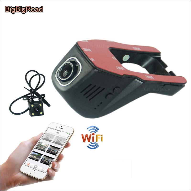 BigBigRoad Car Wifi DVR For hyundai ix25 Sonata Video Recorder hidden Installation Novatek 96655 Dual lens Car Black Box for bmw 3 bmw3 serie 318i 2016 car dvr car video recorder hidden installation novatek 96655 wifi car black box hd 1080p