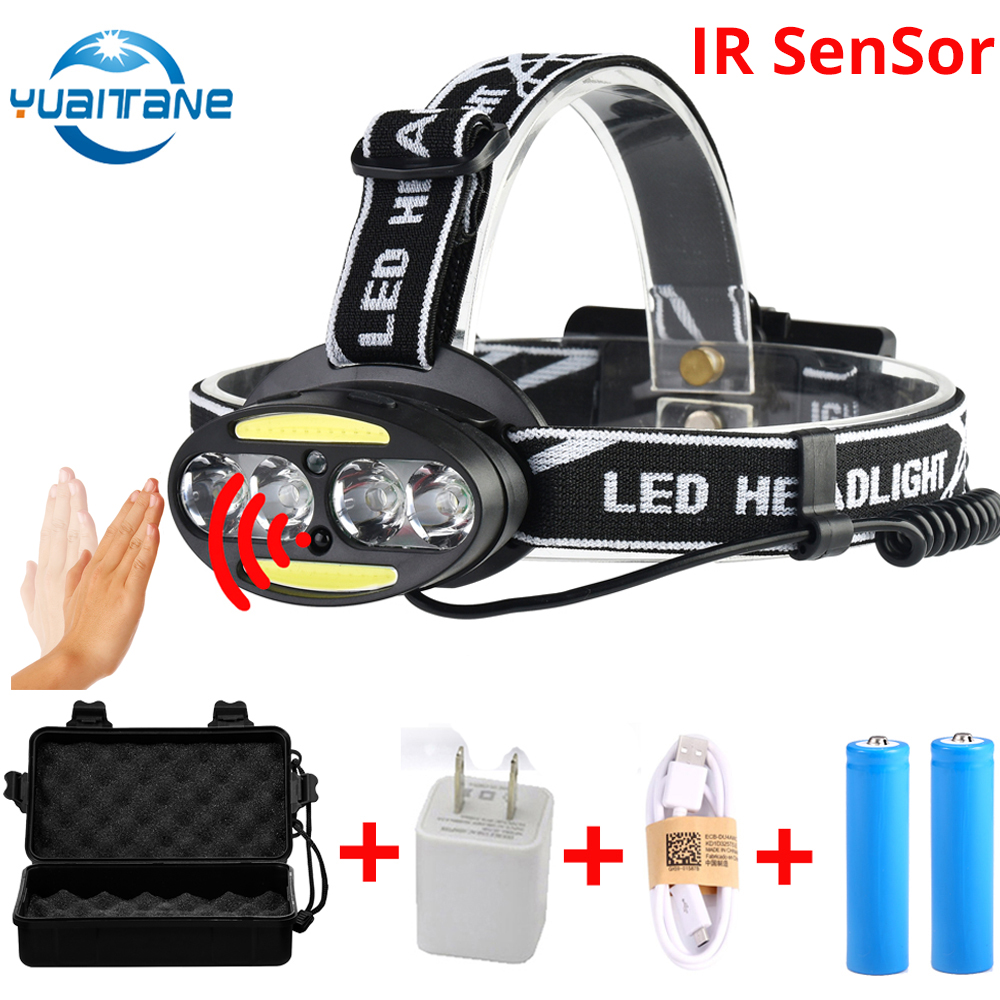 40000LUMS IR Sensor LED Headlight 4*CREE XML-T6 headlamp+2*COB+2*Red USB Rechargeable Head Lamp Flashlight Use 2*18650 battery стоимость