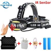 5000LUMS IR Sensor LED Scheinwerfer 4 * T6 hLED eadlamp + 2 * COB + 2 * Rot USB wiederaufladbare Kopf Lampe Taschenlampe Verwenden 2*18650 batterie
