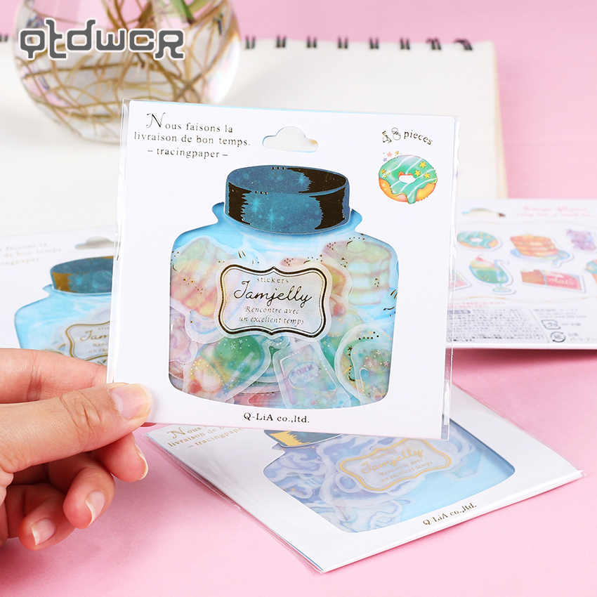 48 Pieces Kawaii Wishing Bottle Sticky Paper Planner Journal Decoration Sticky Notes Notepad Bronzing Stationery Stickers