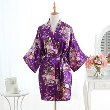 Silk Purple Bridesmaid Bride Robe Sexy Women Short Satin Wedding Kimono Robes Sleepwear Nightgown Dress Woman Bathrobe Pajamas(China)