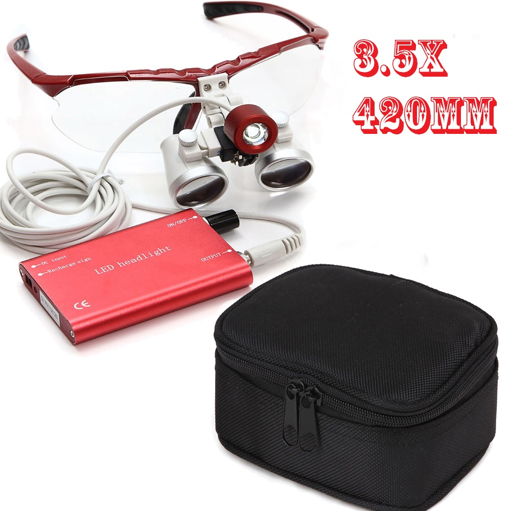 ФОТО For Dentists New Design RED 3.5 X Dental Surgical Binocular Loupes Dentist 420mm CE/FDA + Protective  Case Quality Guaranteed