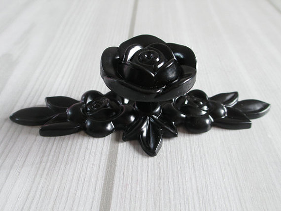 Shabby Chic Dresser Knob Drawer Pulls Knobs Handles Black Vintage Style Kitchen Cabinet Handle Pull Hardware Rose Flower rhinestone crystal kitchen cabinet door knobs handle drawer handles dresser pulls shabby chic glass knobs silver white clear