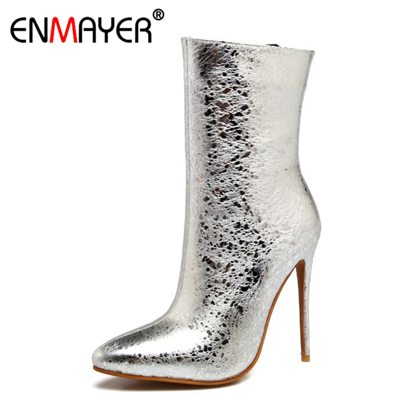 ENMAYER Sexy Red Party Wedding Shoes Woman High Heels Pointed Toe Ankle Boots for Women Zippers Thin Heel Plus Size 34-47 enmayer cross tied shoes woman summer pumps plus size 35 46 sexy party wedding shoes high heels peep toe womens pumps shoe