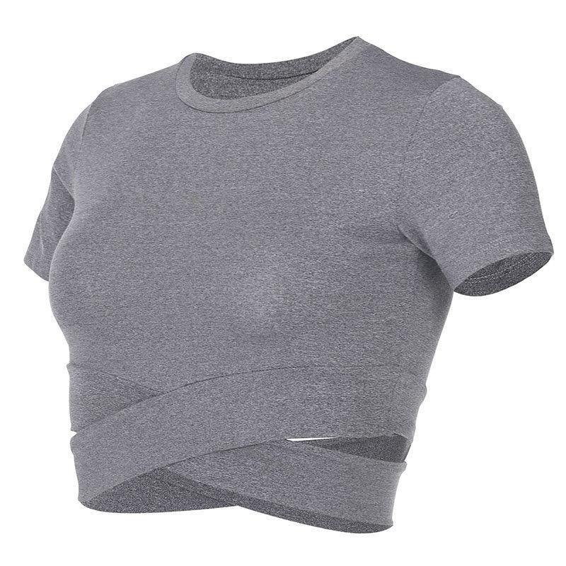 Dry Quick Gym Yoga Sport T Shirt Cool Dew Waist O-neck Women Sport Runing shirt T-shirt elastic fitness training dance smock
