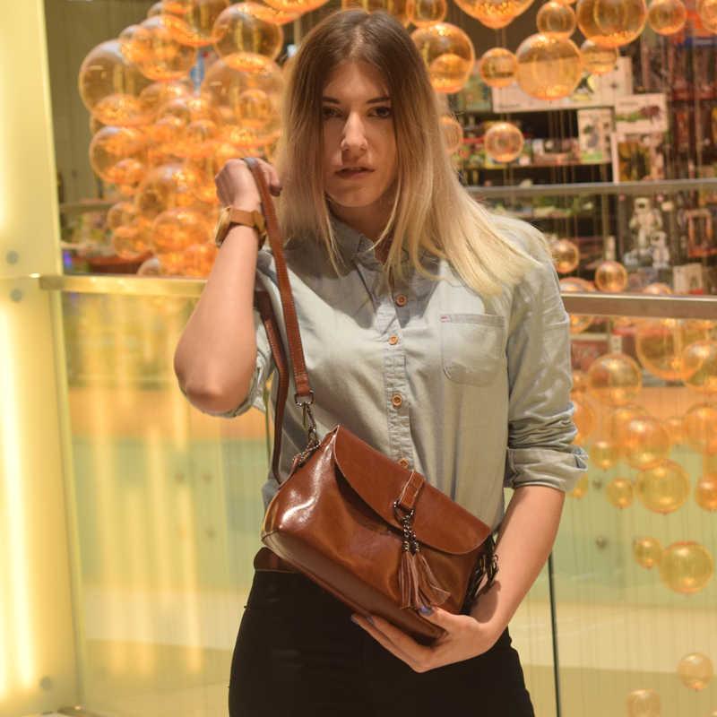 Baru Asli Kulit Wanita Tas Bahu Rumbai Wanita Cross Tubuh Tas 2019 Fashion Tas Messenger Kecil Flap Tas wanita