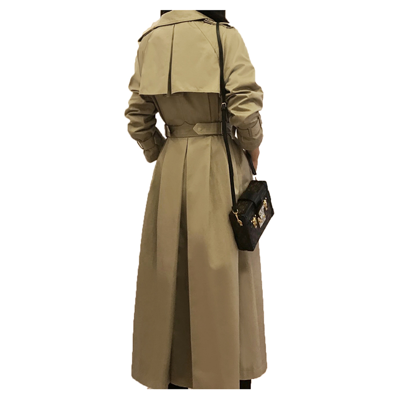 Long Skirt windbreaker female 2018 spring thin double breasted khaki   trench   coat feminino chic overcoat women A221