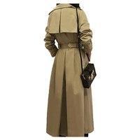 Long Skirt windbreaker female 2018 spring thin double breasted khaki trench coat feminino chic overcoat women A221