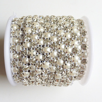 18ss 5 Yards 2 Rows Sewing Accessories 5mm Pearls Clear Crystal Rhinestone Mesh Trimming Cup Chain