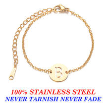 Fabulous 100% Real Stainless Steel Gold Filled A-Z Initial Name Letter Charm Bracelet for Women Female(China)
