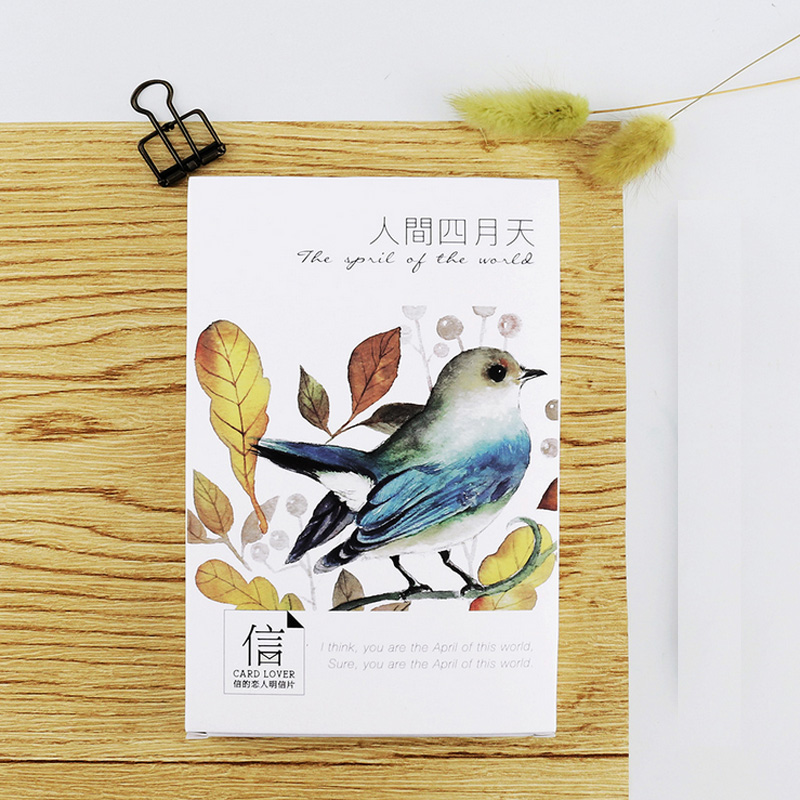 30 pcs/lot Beautiful birds flowers cards card Marine animals postcard landscape greeting card christmas card  message gift 30pcs in one postcard bright starry sky beautiful scenery christmas postcards greeting birthday message cards 10 2x14 2cm