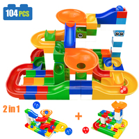 104PCS DIY Construction Race Run Maze Balls Track Compatible Legoed Duploe Building Blocks Christmas Gift Toys