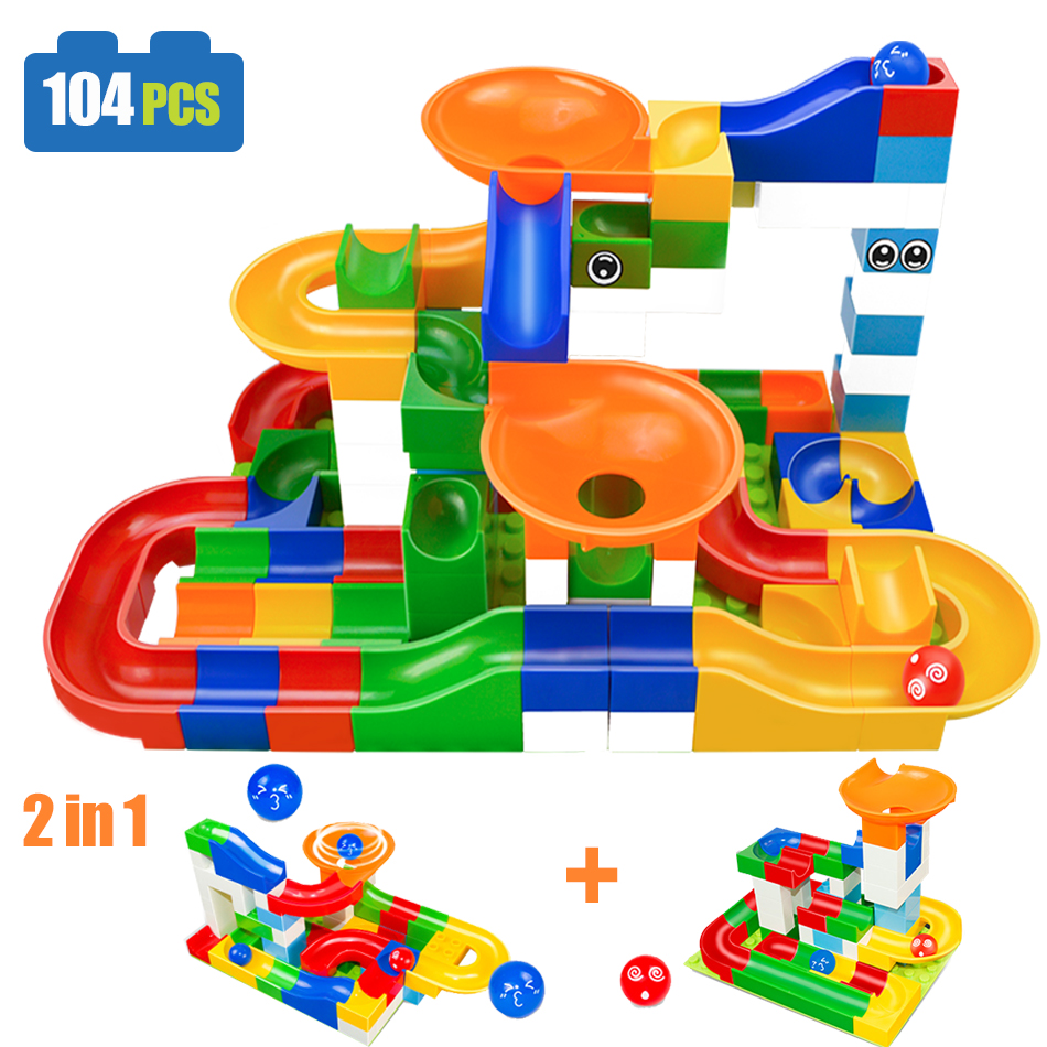 104PCS DIY Construction Race Run Maze Balls Track Compatible Legoed duploe building blocks Christmas gift toys for children kids diy 117pcs princess dream castle park larger particles building blocks toy kids girl best gift compatible with legoed duploe