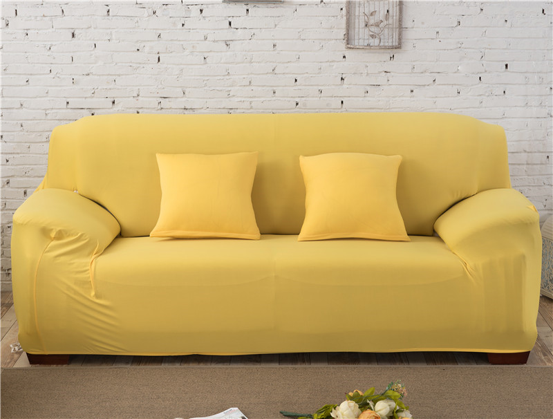 Solid Color Elastic Couch Cover made of Stretchable Material for Singe to 4 Seated Sofa in Living Room 25