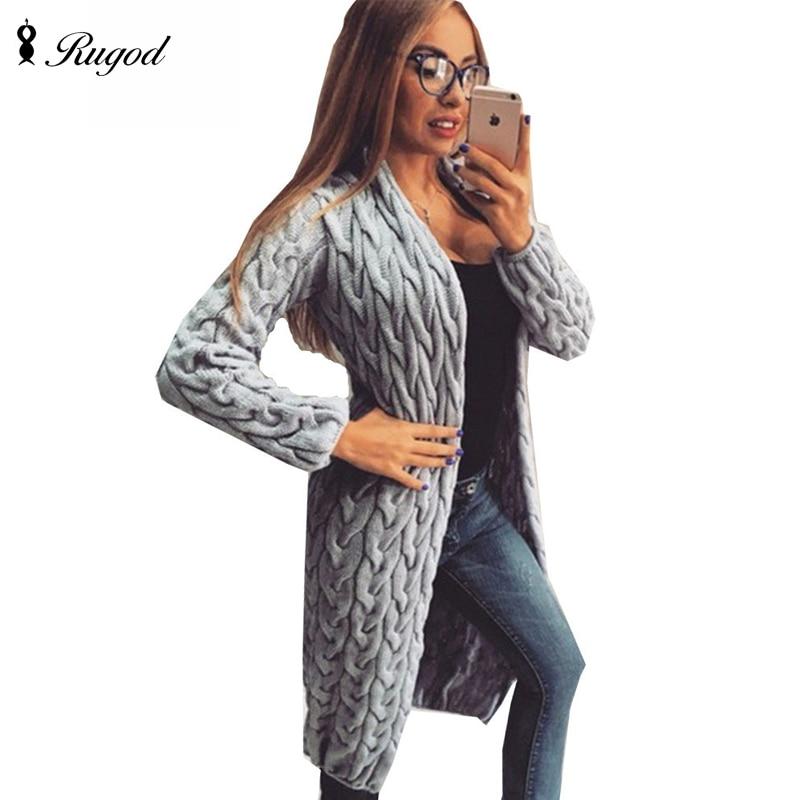 RUGOD 2018 Nouveau Printemps et D'hiver Tricoté Crochet Chandail pour Femmes Long cardigan Tordu robe Ouvert femelle chandails cardigan femmes