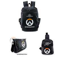 Blizzard Game Overwatch Backpack Mochila Canvas PU Leather Shoulder Bag Crossbody Messenger Bag Chest Pack Reaper