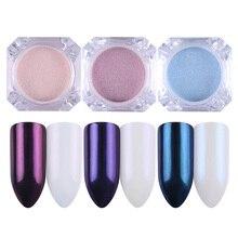 BORN PRETTY 3 Colors Mirror Pearl Nail Powder Set Glitter Nail Art Dust Shining Mermaid Makeup Powder Decorations Kit