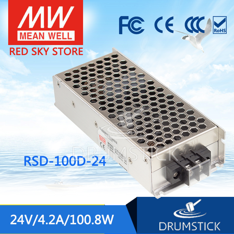 цена на Hot sale MEAN WELL RSD-100D-24 24V 4.2A meanwell RSD-100 24V 100.8W Railway Single Output DC-DC Converter