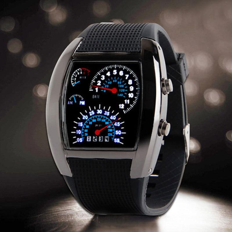 Blue&White LED Watch Men Black Rubber Speedometer Digital Wrist Watches Male Dot Matrix Boys Mens Gift